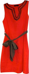 short dress coral with brown accent on Tradesy