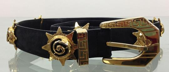 Versace GIANNI VERSACE BLACK BUCK SUEDE BELT