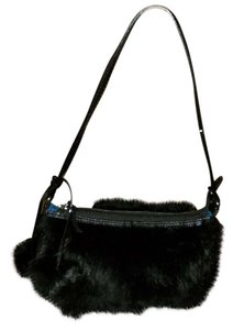 Rabbit fur Clutch Pom Pom Hobo Bag