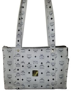 MCM Vintage Long Straps Tote in White, Blue