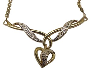 Other Estate Vintage 10k 2-tone Gold Diamond Lavalier Necklace, 1930s