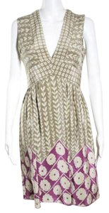 Anna Sui short dress Taupe/Purple Silk Empire Waist Mixed Print on Tradesy