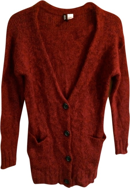 Divided by H&M Tunic Wool Patchwork Faux Leather V-neck Sweater Winter Fall Comfortable Casual Cardigan