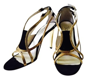 Emilio Pucci Black Suede Gold Stiletto Metallic Leather Gold/Black Sandals