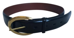 Coach Black Leather Brass Buckle Belt