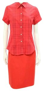 Burberry Nova Check Plaid Pencil Skirt Red Black