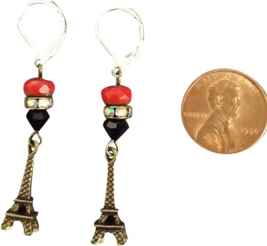 OTHER NEW Bronze EIFFEL TOWER Earrings Leverback STERLING SILVER Ear wires RED Natural stone BLACK Bronze CRYSTALS