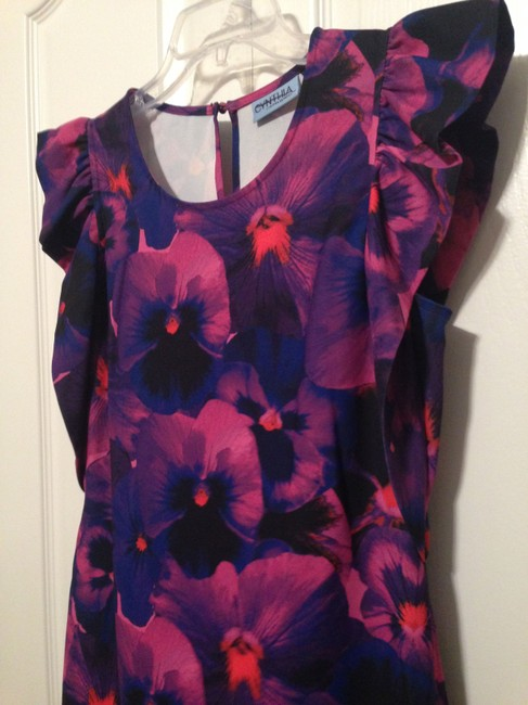 Cynthia Rowley Pansy Floral Keyhole Flutter Sleeves Dress