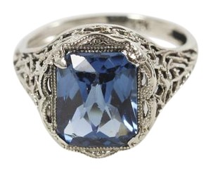 Vintage Filigree 14k White Gold 4ct Blue Syn Spinel Scissor Cut Solitaire Ring