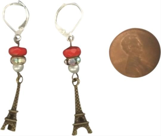 OTHER NEW BRONZE EIFFEL TOWER EARRINGS Paris France WHITE FAUX PEARL RED NATURAL STONE Rhinestones