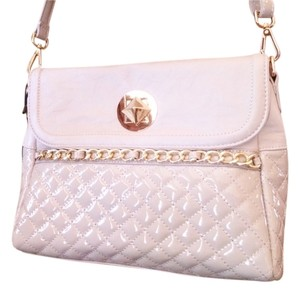 Nila Anthony Quilted Adhustable Strap Gold Hardware Patent Leather Convertible Cross Body Bag