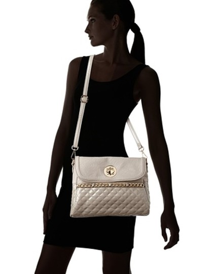 Nila Anthony Quilted Adhustable Strap Shoulder Gold Hardware Patent Leather Convertible Cross Body Bag