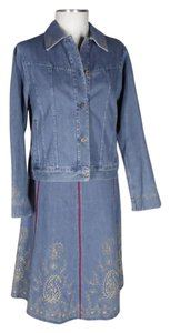 Liz Claiborne embroidered denim skirt suit