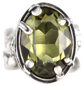 Silpada Retired Silpada R1883 Victorian Style 925 Sterling Silver Olivine CZ Floral Ring