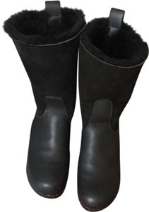 No. 6 clog wedge boots Leather Exterior Fully Lined With Shearling Black Boots