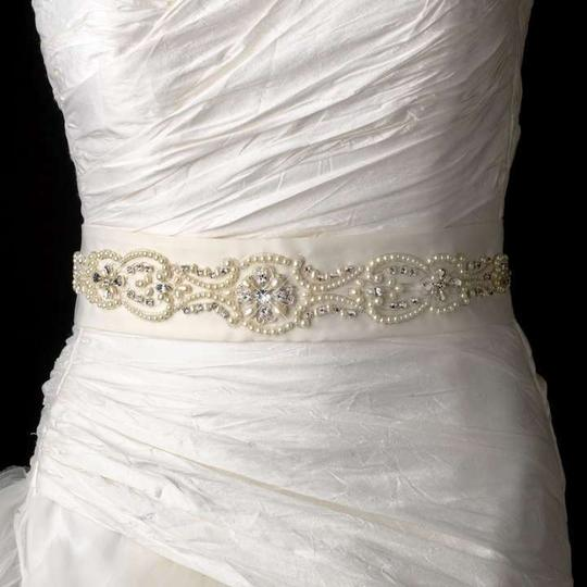 Elegance by Carbonneau Ivory Beaded Dress Belt Sash