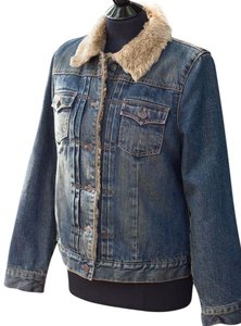 Gap Faux Fur Lining denim blue Womens Jean Jacket