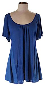 Ella Moss Flutter Sleeve Short Sleeve Open Back Mixed Media Tunic