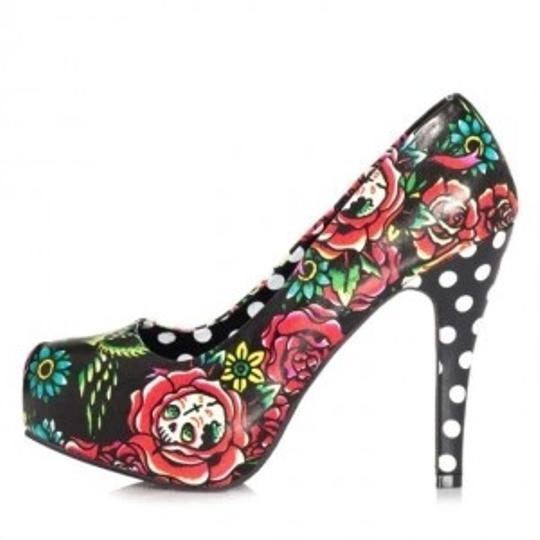 Iron Fist Size 10 Hooters Heel Pump Polka Dot Skull Black Platforms