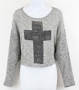 dELiA*s Grey Black Silver Rhinestone Cross Cropped B104 Sweater