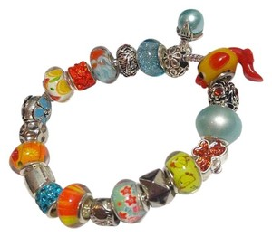 Other New European Charm Bracelet W/ 19 Removable Beads Blue Orange J2568