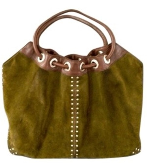 Preload https://img-static.tradesy.com/item/156045/michael-kors-green-suede-with-brown-leather-trim-shoulder-bag-0-0-540-540.jpg