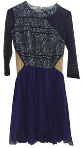 Three Floor Cocktail Party Lace Cutout Blue Dress