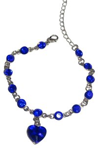 Other New Silver Tone Blue Crystals Heart Charm Bracelet J2569