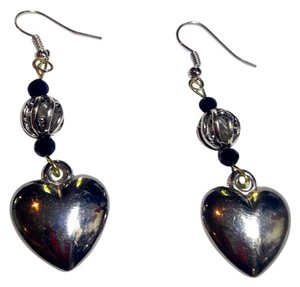 Other New Silver Tone Heart Charm Earrings Black Crystals J2570