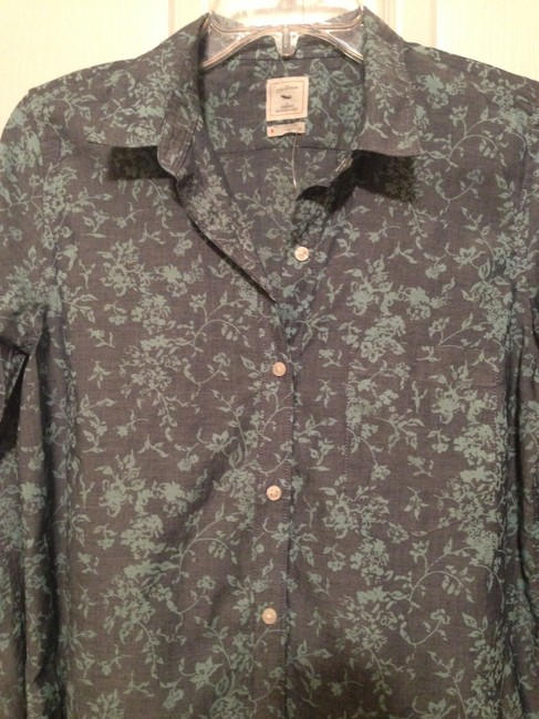 Gap Fitted Boyfriend Floral Chambray Blouse Shirt Island Turquoise Button Down Shirt