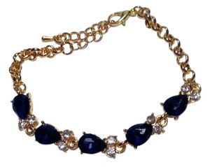 Other New 14K Gold Filled Blue Cubic Zirconia Tennis Bracelet J2571