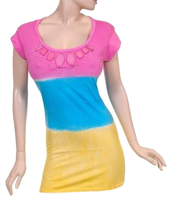 Preload https://img-static.tradesy.com/item/15605305/pink-turquoise-yellowcolor-block-dip-dye-blue-sunshine-yellow-uniquetie-dye-short-casual-dress-size-0-1-650-650.jpg