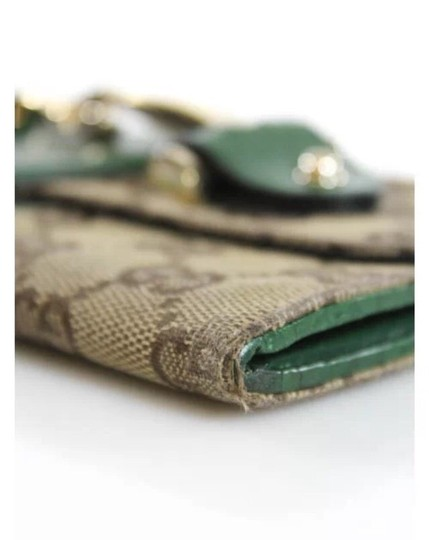Gucci GUCCI Beige Green Canvas Leather Embellished Wallet
