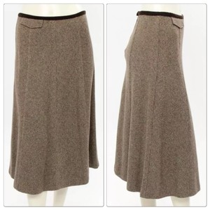 Max Mara Herringbone Work Corporate Skirt Brown Herringbone