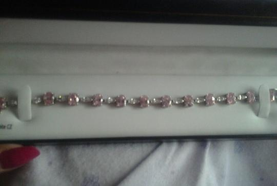 Other Sterling Silver Bracelet with Pink & White CZ 24-5/8 total carat weight 925 SS Image 1