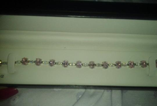 Other Sterling Silver Bracelet with Pink & White CZ 24-5/8 total carat weight 925 SS Image 2