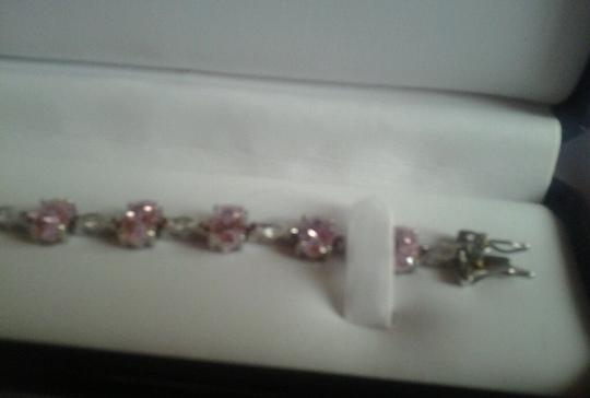 Other Sterling Silver Bracelet with Pink & White CZ 24-5/8 total carat weight 925 SS Image 4