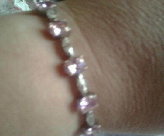 Other Sterling Silver Bracelet with Pink & White CZ 24-5/8 total carat weight 925 SS Image 5