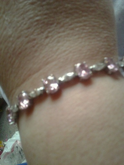 Other Sterling Silver Bracelet with Pink & White CZ 24-5/8 total carat weight 925 SS Image 6