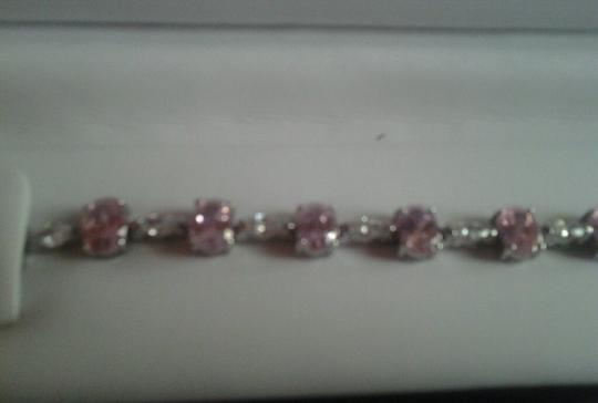 Other Sterling Silver Bracelet with Pink & White CZ 24-5/8 total carat weight 925 SS Image 7