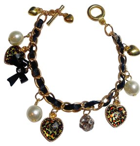 New Cheetah Print Heart Charm Bracelet Black Gold Tone J2577 Summersale