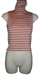 Dolce&Gabbana Turtleneck Stripes Sleeveless Shimmery Sweater