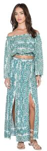 Paisley Print Maxi Dress by The Allflower Creative Maxiskirt Croptop Bellsleeve