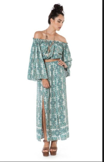 Paisley Print Maxi Dress by The Allflower Creative Maxiskirt Croptop Bellsleeve Bohochic Image 1