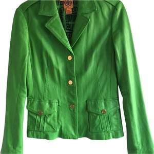 Tory Burch Soft Leather Vintage Look Kelly Funky Green Leather Jacket
