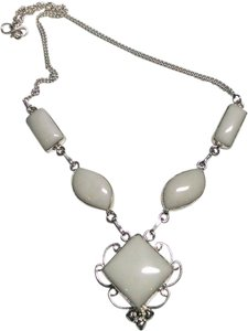 White Jade Gemstone Necklace 925 Silver Large Stone White Silver J505