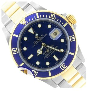 Rolex MINT Rolex Submariner 16613 T Two-Tone Gold Stainless Blue Date Dive 40mm Watch