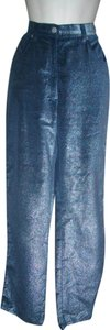 Armani Jeans Iridescent Trousers Casual Coated Trouser/Wide Leg Jeans-Coated