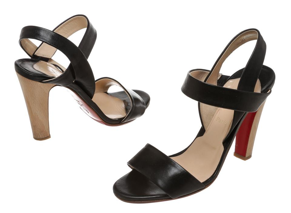 Christian Louboutin Black 39) Leather Wood Heel Strappy 39) Black Sandals 8e634c