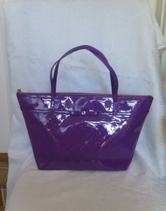 Kate Spade Patent Leather Dots Shiny Tote in Bajarose Purple